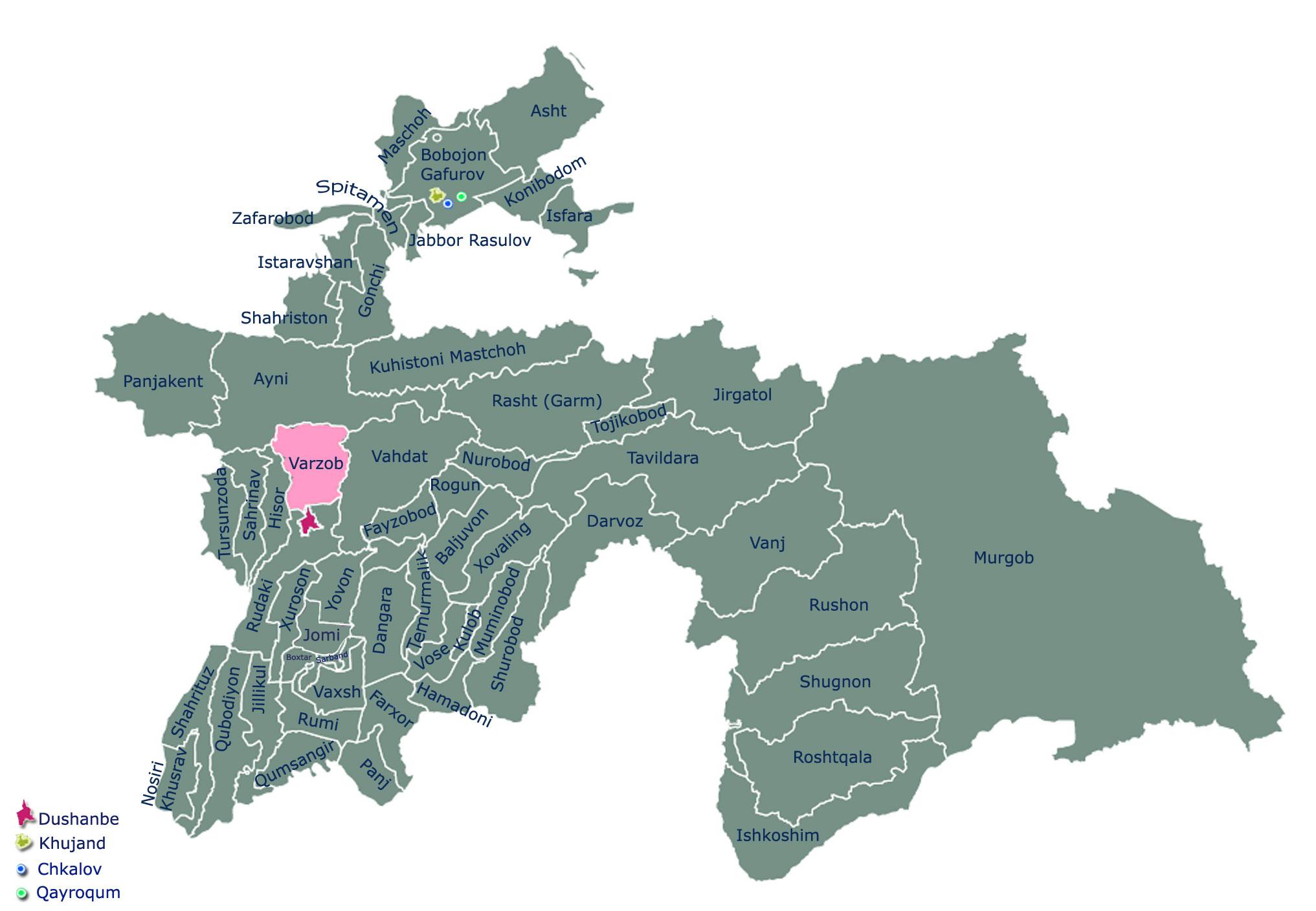 Карта Варзобского района