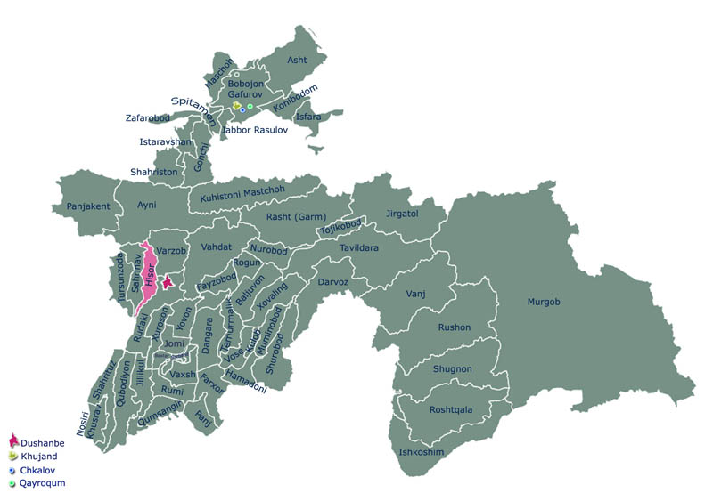 Карта Гиссарского района Таджикистана