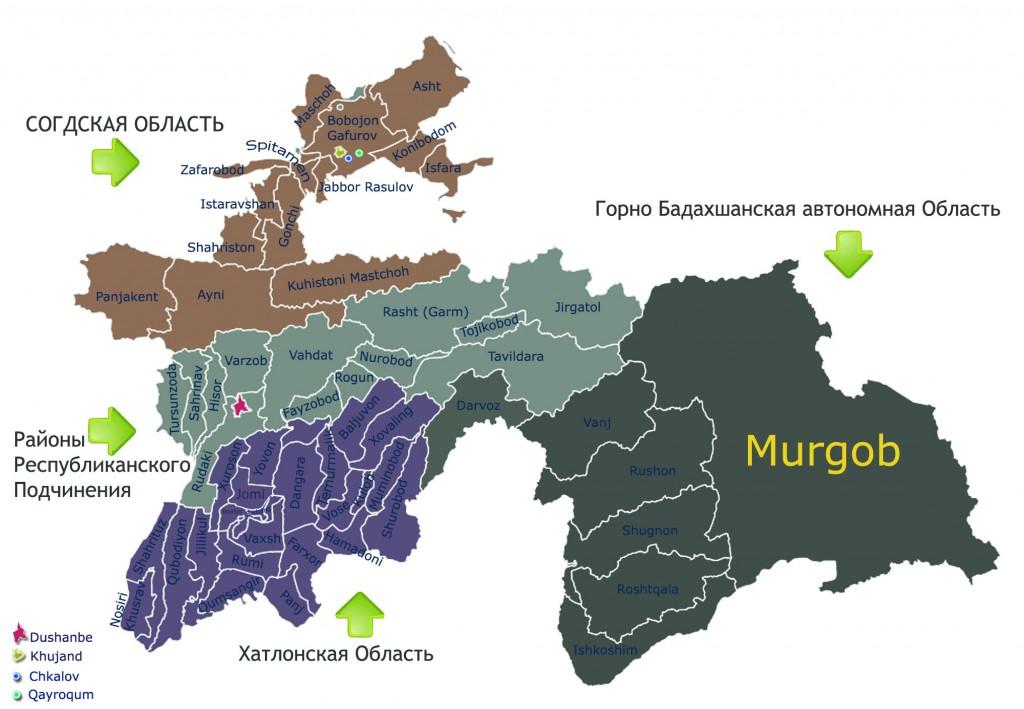 Карта районов и городов Таджикистана (с границами)