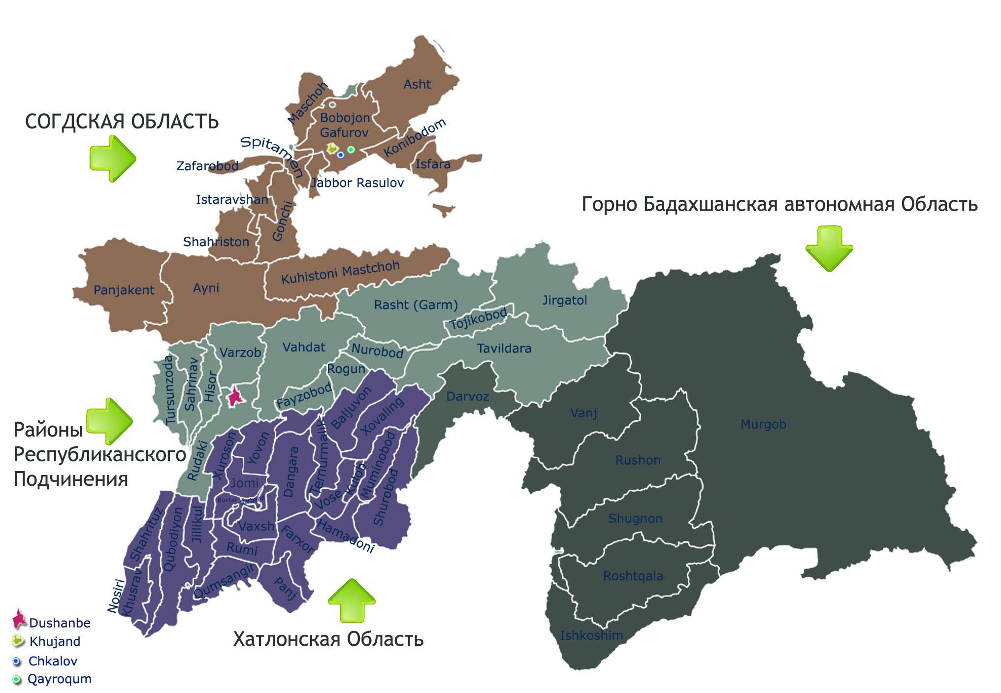 Tajikistan Regions Areas