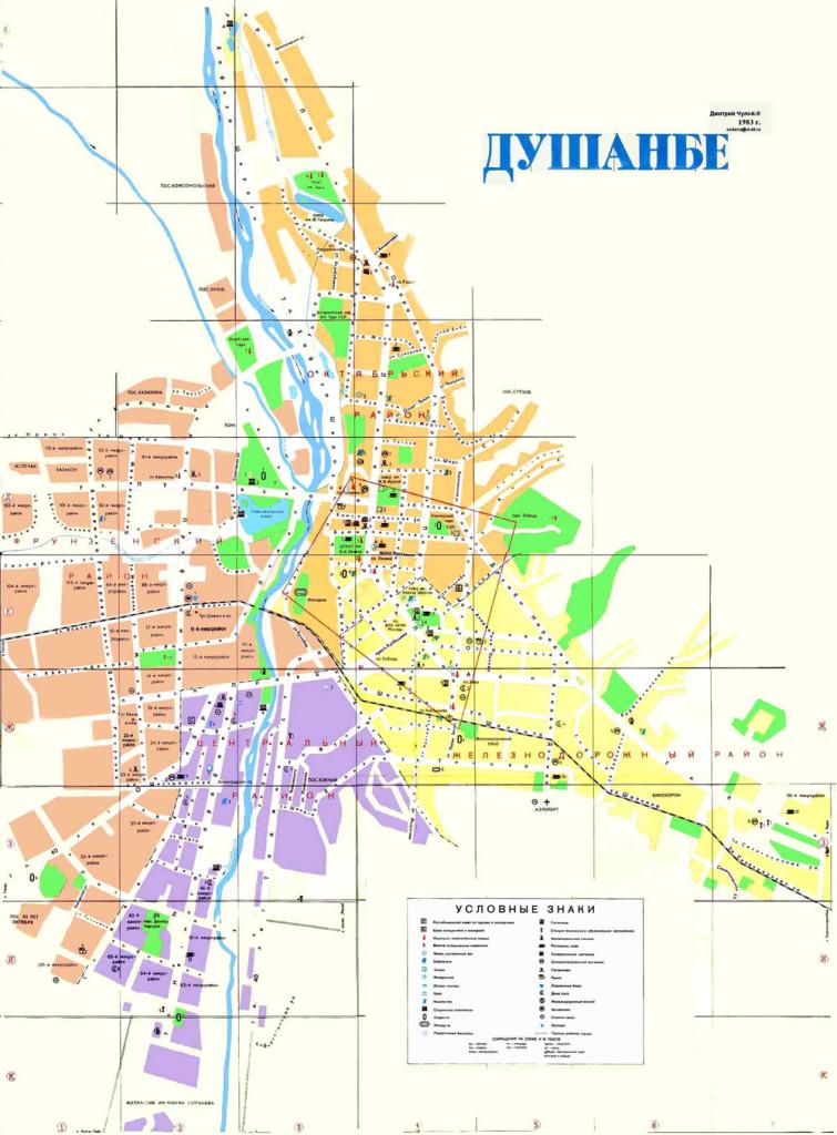 Карта районов Душанбе