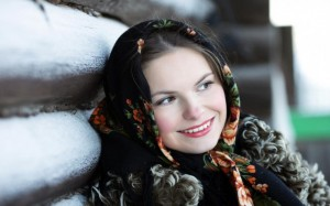 Russian girl in national scarf