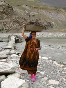 Wild mountain woman in Tajikistan