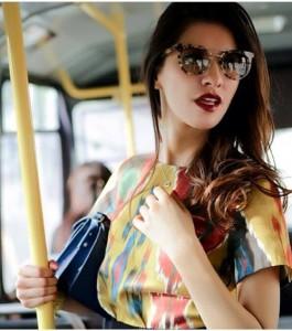 In transport modern Tajik girl