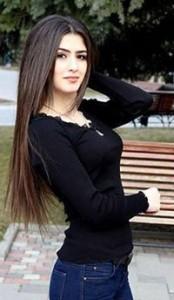 With jins trousers Tajik girl