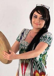Tajik girl in atlas dress