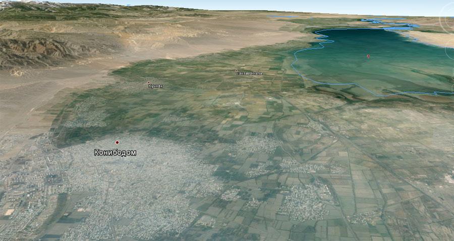 3 D карта Канибадам со спутника