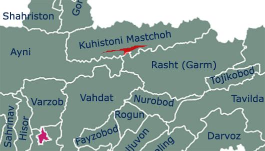 Село Ягноб на карте Таджикистана