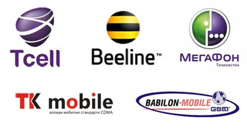 Logotype of Mobile Operators of Tajikistan - celular companies