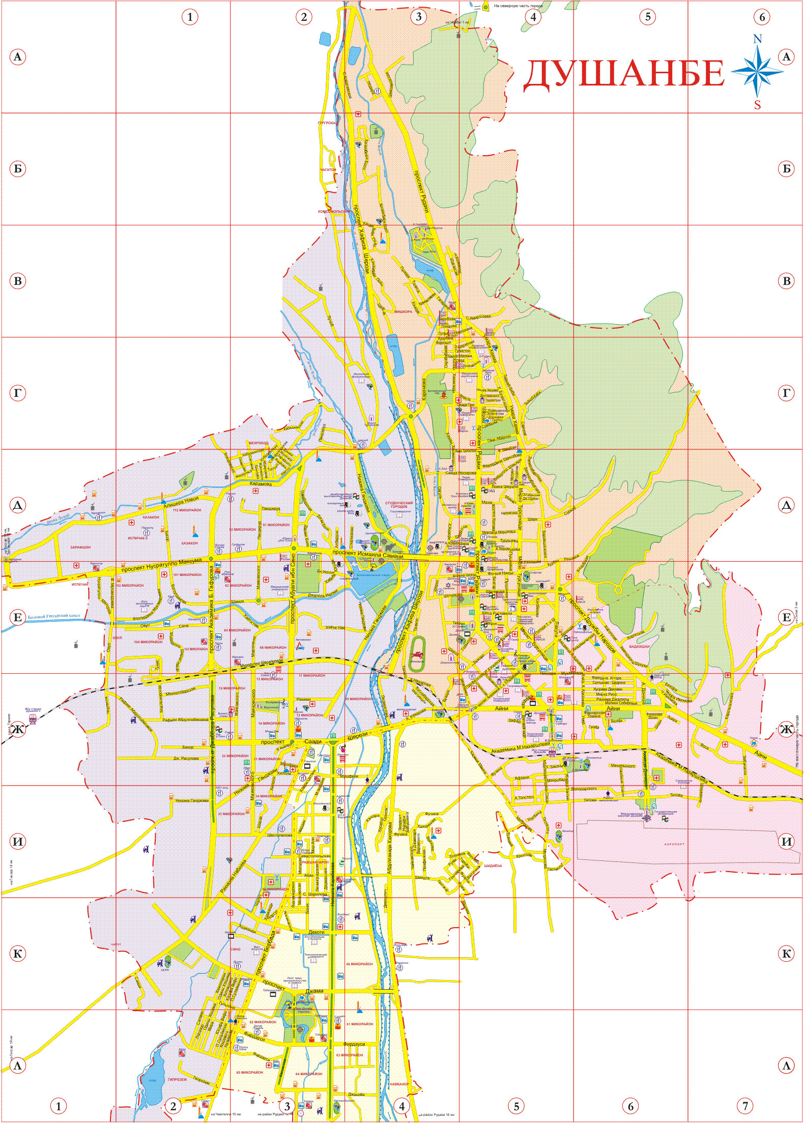 Map Of Dushanbe City In Tajikistan Capital - Dushanbe map