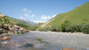 Karatag River in the western part of Tajikistan