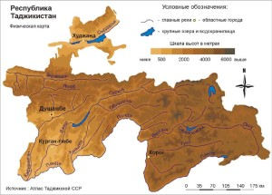 Map of Tajikistan rivers
