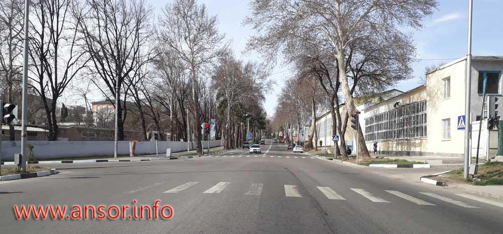 Omar Khayyama Street in the city of Dushanbe