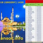 Рамадан 2018 Грозный – Чечня, расписание поста