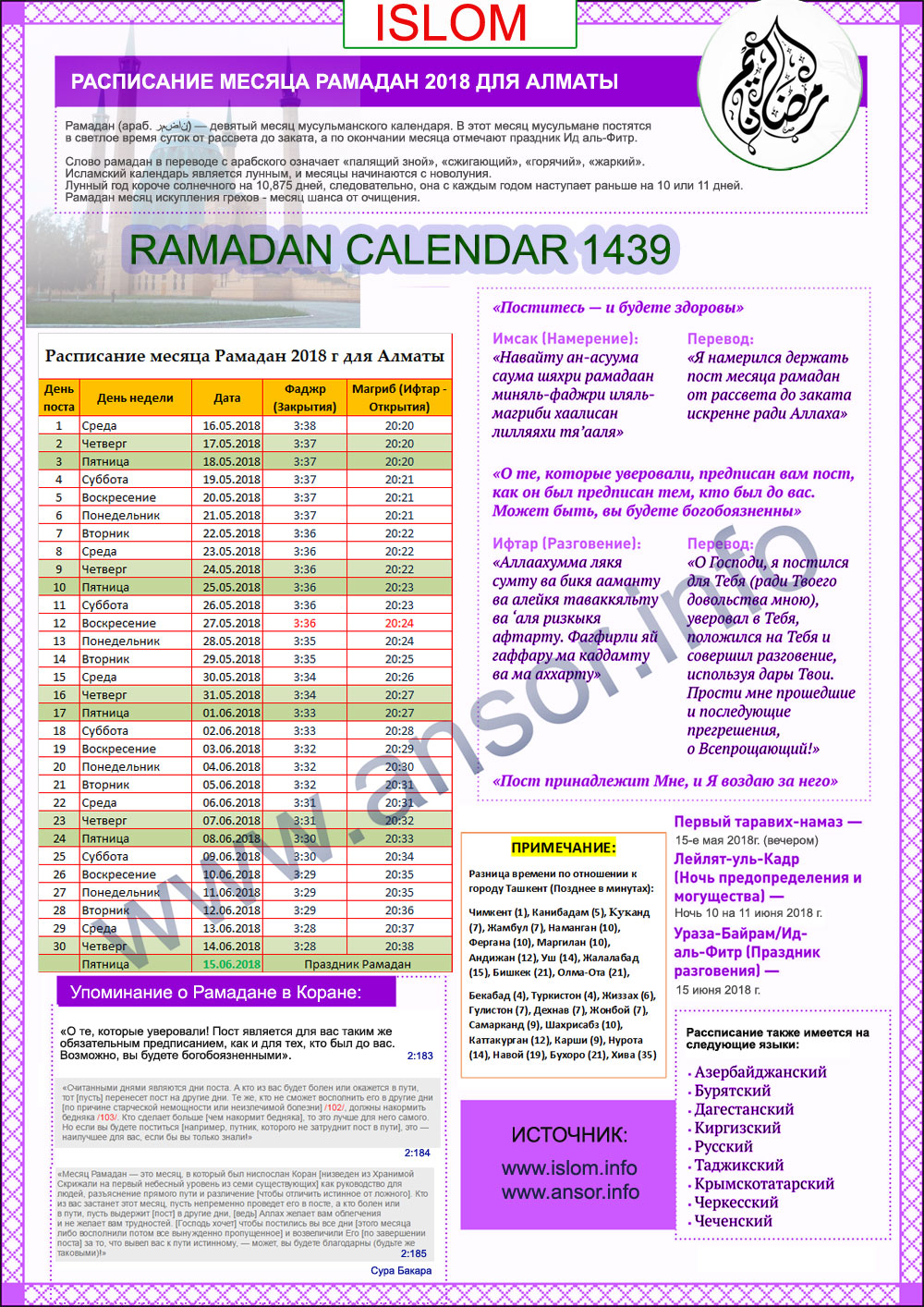 Расписание рамадан алмата 2018 казахстан
