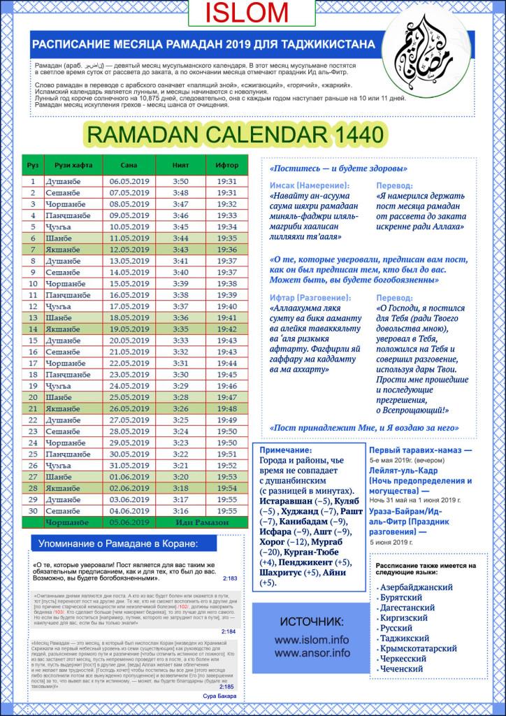 Расписание рамадан Душанбе 2019