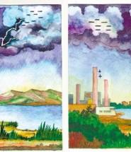 . Молния между двумя облаками