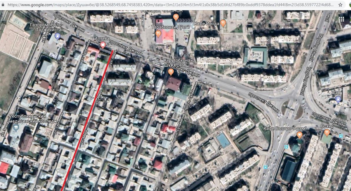 Улица мирв в Душанбе