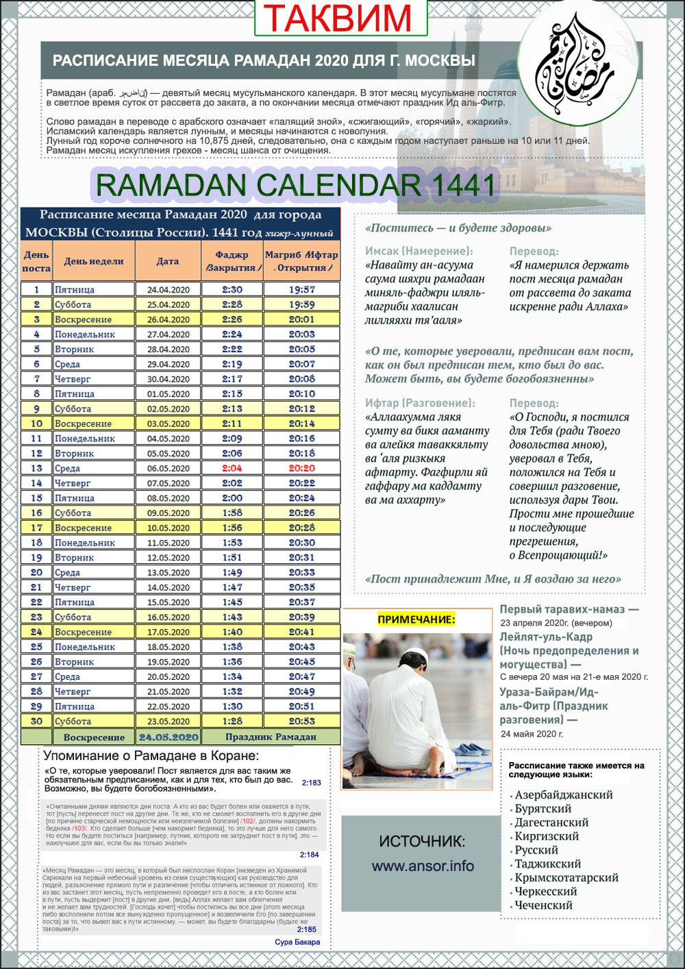 Рассписание рамадан месяц 2020 года