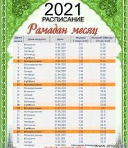 расписание рамадан календарь 2021